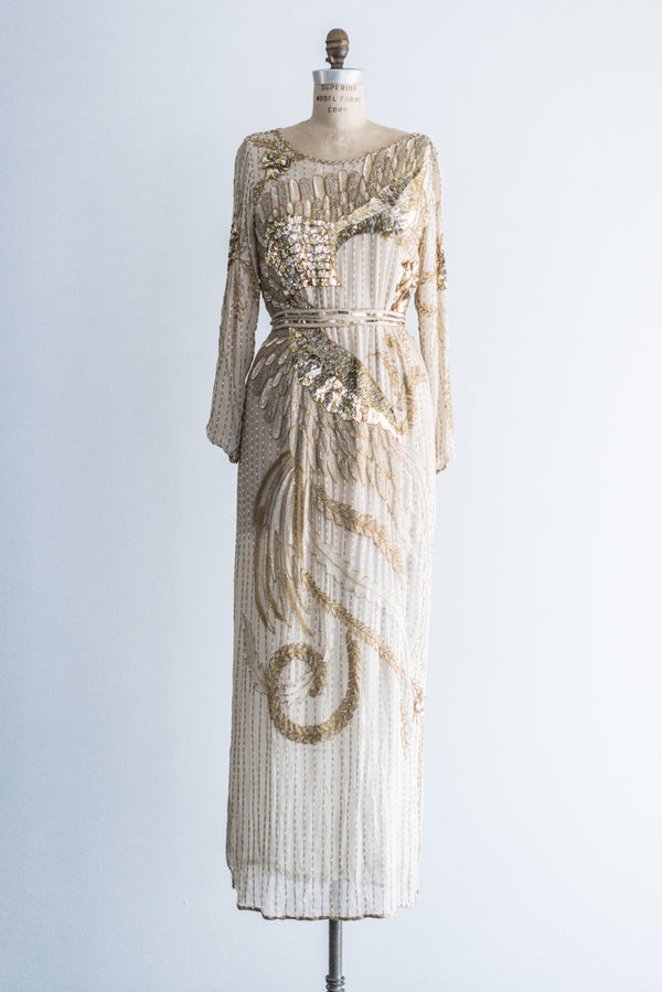 Vintage Nude Lace Gown - S - G O S S A M E R