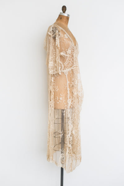 1920s Duchesse Lace Tabard Overdress - M