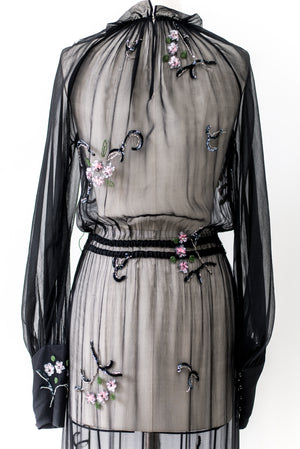 1960s Silk Beaded Gown - M/L