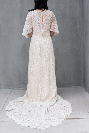RESERVED Antique Point De Gaz Bobbin Lace Gown - S