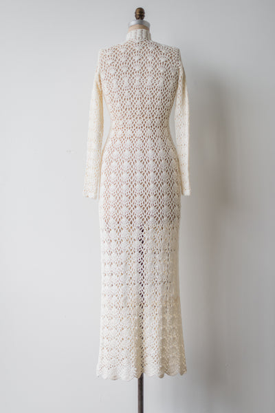 1970s Long Sleeves Crochet Dress - S/M