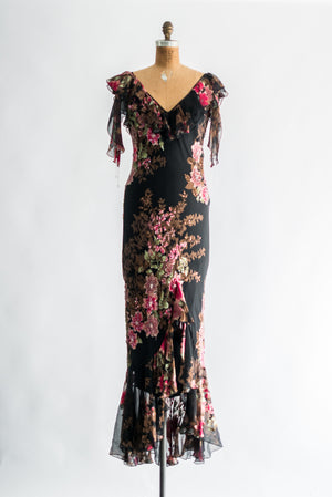 1980s Designer Silk Floral Print Beaded Gown - S/M