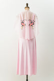 1970s Pink Embroidered Nylon and Tricot Dress - S
