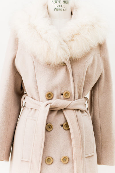 1970s Fox Fur Collar Wool Coat - S