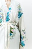 Vintage Sky Blue Silk Watercolor Print Short Kimono - One Size