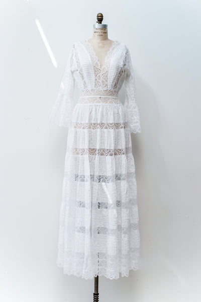 1970s White Cotton and Lace Dress - M