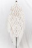 Vintage Knit Triangular Shawl - One Size