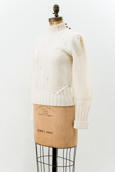 Vintage Wool Cable Knit Turtle Neck Sweater - S