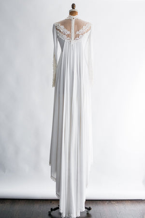 1970s Jersey Lace Applique Gown with Cape Back - XS/S
