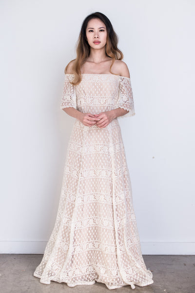 1970s Crochet Lace Off-the-Shoulder Maxi Dress - S