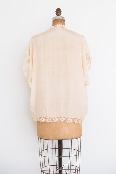 1920s Ivory Silk Bed Jacket - M/L