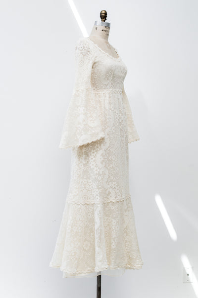 1970s Bell Sleeves Crochet Lace Gown - S