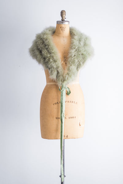 1950s Mint Ostrich and Maribou Wrap - One Size