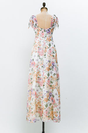 1970s Empire Waist Floral Dress - S