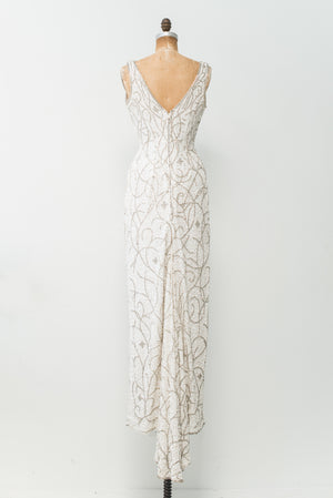 1980s Low V-Neck Silk Beaded Gown - S