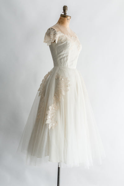 1950s Tulle Dress with Lace Applique Dress - XS