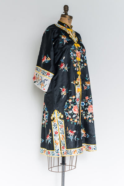 Vintage Chinese Silk Floral Embroidered Robe - M/L