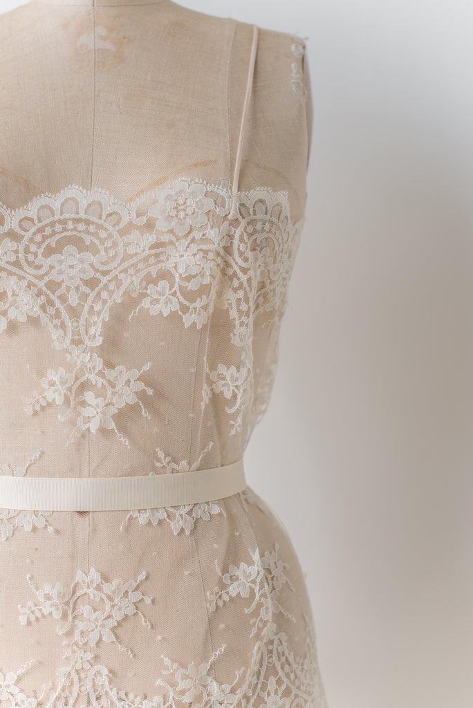 Vintage Sheer Lace and Silk Chemise Dress - S/M ...