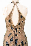 1980s Silk Beaded Halter Neck Dress - S