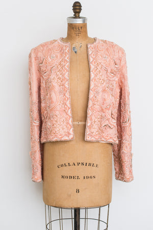 Rare 1980s Silk Embroidered Jacket - M