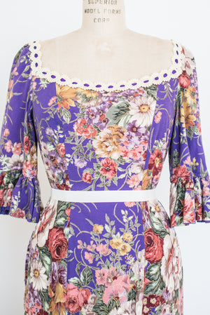 1970s Purple Floral Dress - M