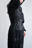 1980s Black Silk Beaded Art Deco Inspired Dress - M