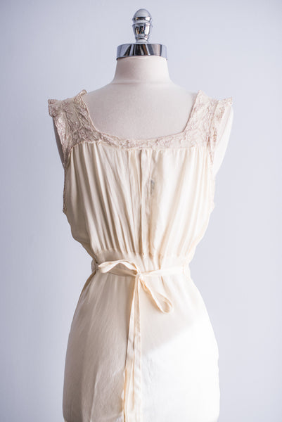 1930s Ivory Silk and Chiffon Slip - S