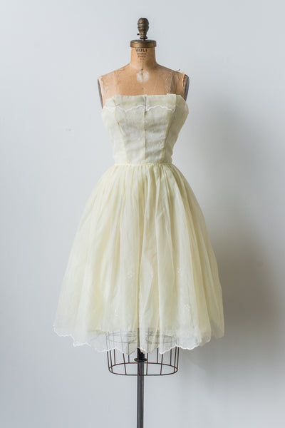 1950s Yellow Tricot Chiffon Dress - XXS
