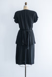 1940s Black Scattered Pronged Dress - M