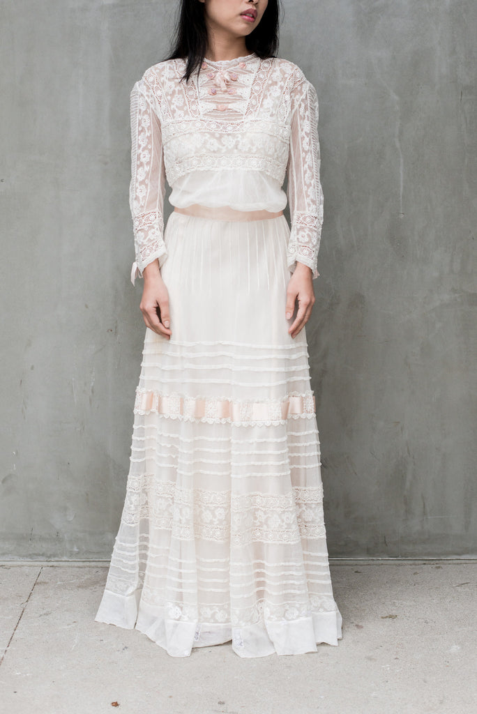 Antique Tulle and Valenciennes Edwardian Lace Dress - S ...