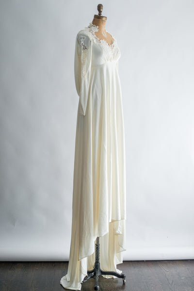 1960s Jersey Dress with Lace Applique - XS