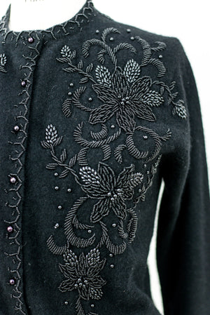 1950s Black Beaded Cardigan - S/M