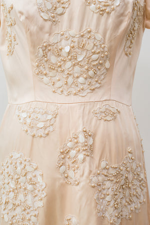 1950s Silk Satin Beaded Dress - S/M