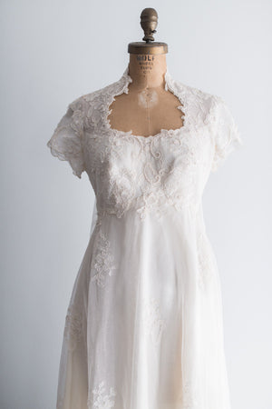 1960s Lyon Lace Cape Train Gown - S