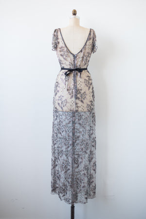 1980s Sheer Lace Beaded Dress - M