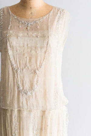 1920s Silk Voile Embroidered Flapper Dress - M/L
