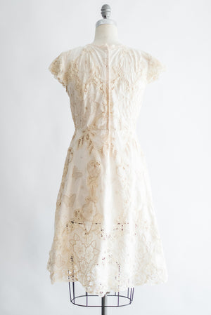 1970s Linen and Battenburg Lace Dress - M/L