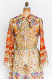 1970s Chiffon Printed Dress - S/M