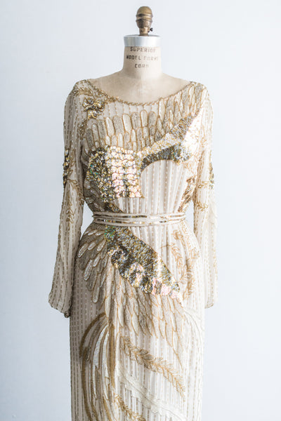 1980's Gold and Nude Phoenix Beaded Dress - M