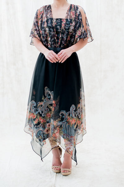 1970s Black Chiffon V-Neck Handkerchief Dress - S