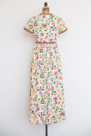 1970s Floral Print Cotton Maxi Dress - S/M