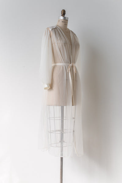 1960s Sheer Nylon Dressing Gown - One Size