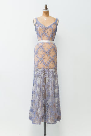 1930s Embroidered Lace Gown - XS/S
