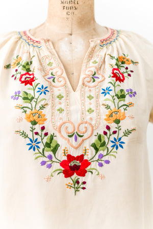 1920s Silk Embroidered Peasant Top - S/M