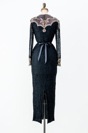 1980s Black Silk Beaded Gown - M