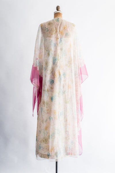 1970s Chiffon Caftan and Butterfly Sleeves Dress - S/M