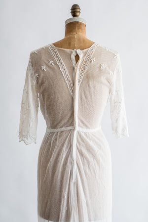Edwardian Embroidered Lace Tulle Dress - XS