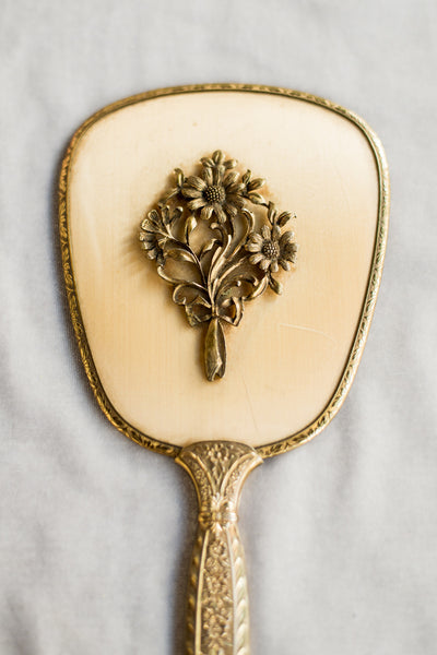 1950s Gold-Toned Hand Mirror