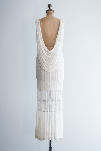 1980s Tulle Beaded Goddess Gown - S/M
