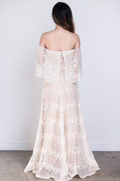 1970s Crochet Lace Off-the-Shoulder Maxi Dress - S/M